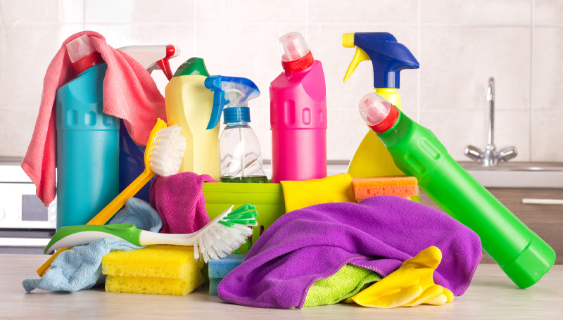 assorted household cleaners