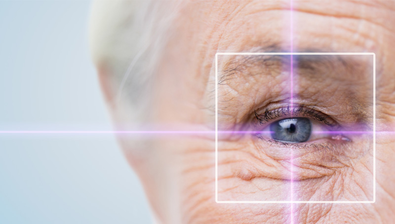 elderly woman with laser eye treatment overlay