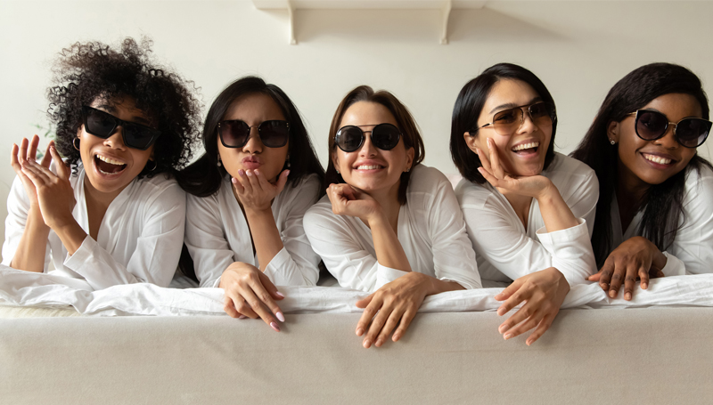 group of women wearing sunglasses